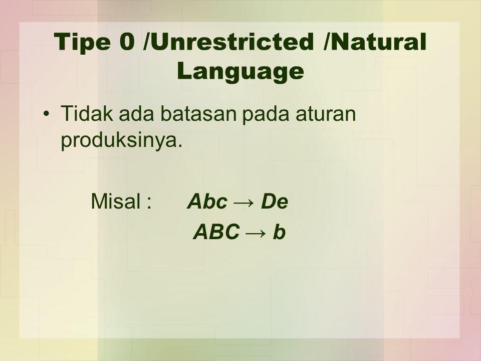Tipe 0 /Unrestricted /Natural Language Tidak ada batasan pada aturan produksinya. Misal : Abc → De ABC → b
