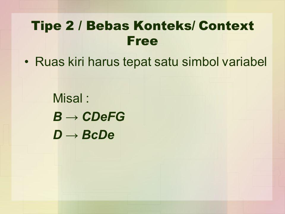 Tipe 2 / Bebas Konteks/ Context Free Ruas kiri harus tepat satu simbol variabel Misal : B → CDeFG D → BcDe