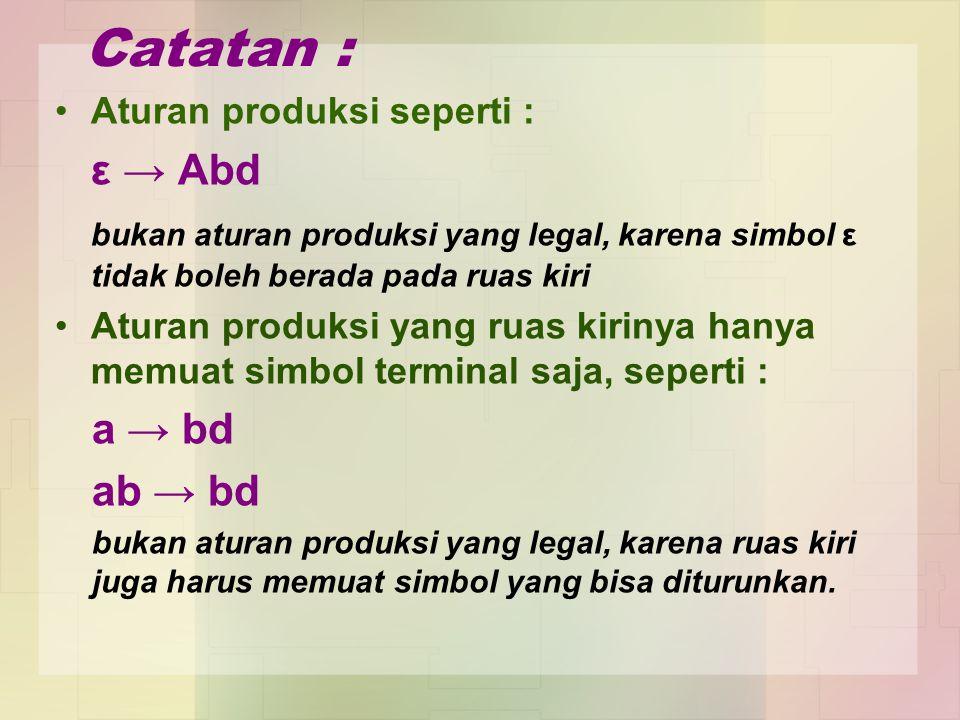 Catatan : Aturan produksi seperti : ε → Abd bukan aturan produksi yang legal, karena simbol ε tidak boleh berada pada ruas kiri Aturan produksi yang r