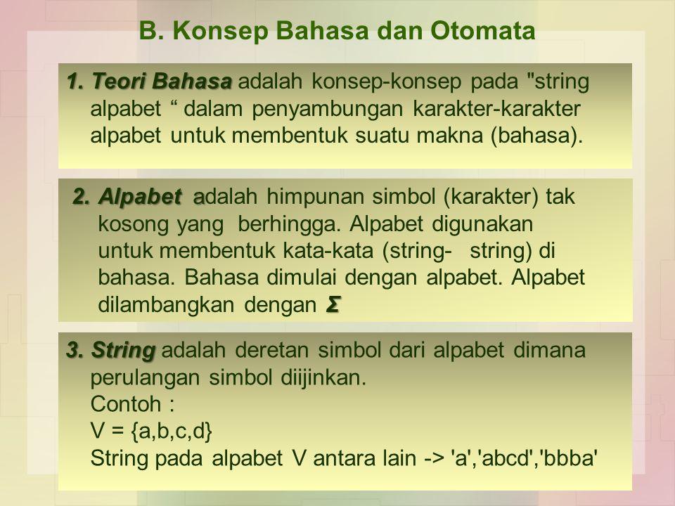 1.Teori Bahasa 1.Teori Bahasa adalah konsep-konsep pada string alpabet dalam penyambungan karakter-karakter alpabet untuk membentuk suatu makna (bahasa).