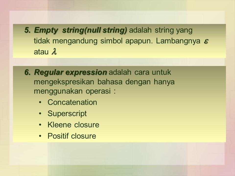 5.Empty string(null string)  5.Empty string(null string) adalah string yang tidak mengandung simbol apapun. Lambangnya  atau 6.Regular expression 6.