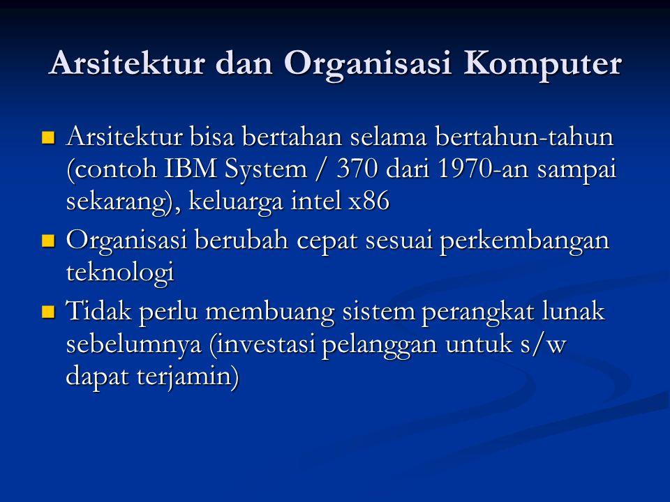 Arsitektur dan Organisasi Komputer Arsitektur bisa bertahan selama bertahun-tahun (contoh IBM System / 370 dari 1970-an sampai sekarang), keluarga int