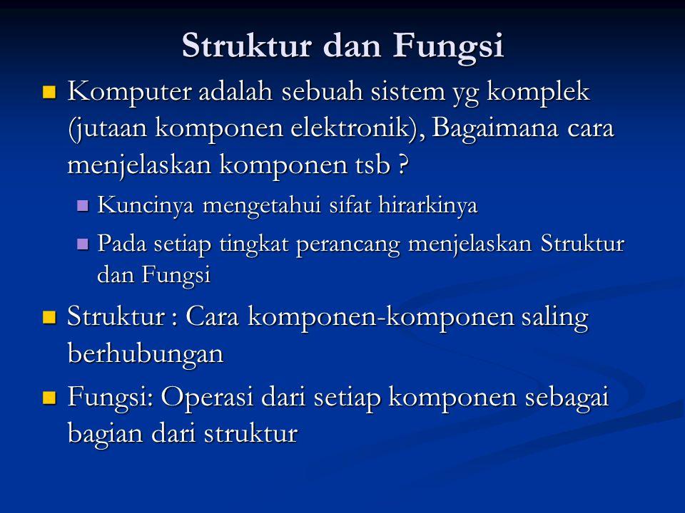 Struktur dan Fungsi Komputer adalah sebuah sistem yg komplek (jutaan komponen elektronik), Bagaimana cara menjelaskan komponen tsb ? Komputer adalah s
