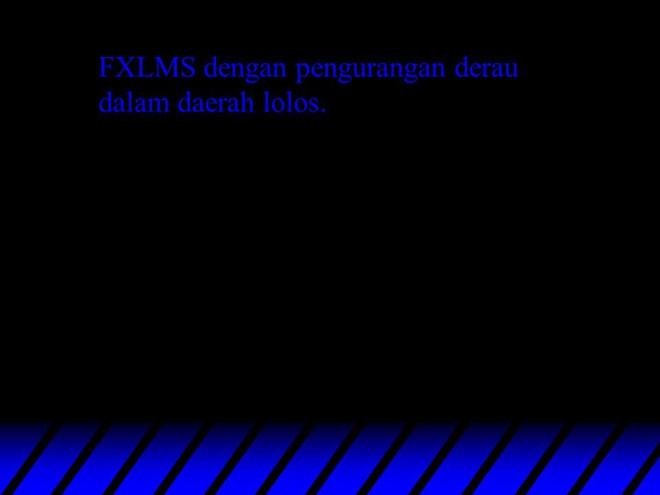 Filtered-U LMS FXLMS : 60 bobot, =4.10-12, fs=2 kHz FXLMS : 150 bobot, =10-12, fs=2 kHz. FULMS : 60 bobot, =4.10-12, fs=2 kHz.