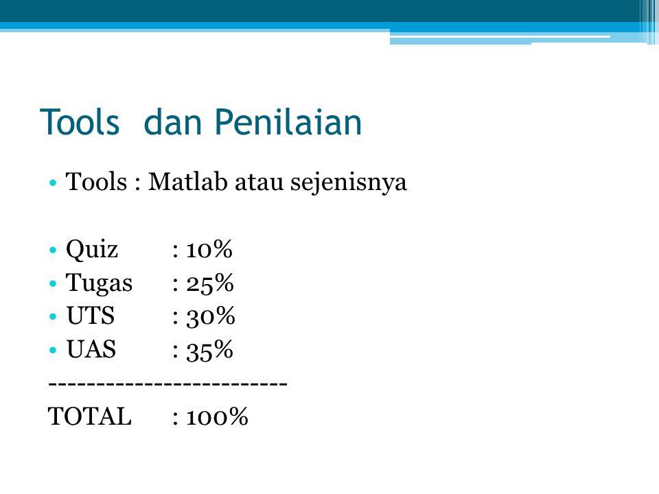 Tools dan Penilaian Tools : Matlab atau sejenisnya Quiz: 10% Tugas: 25% UTS: 30% UAS: 35% ------------------------- TOTAL: 100%