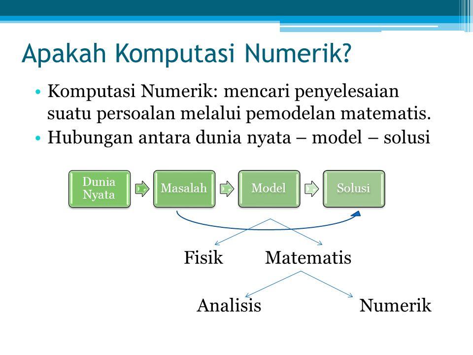 Apakah Komputasi Numerik? Komputasi Numerik: mencari penyelesaian suatu persoalan melalui pemodelan matematis. Hubungan antara dunia nyata – model – s