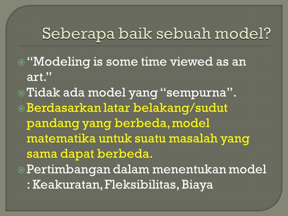 """ """"Modeling is some time viewed as an art.""""  Tidak ada model yang """"sempurna"""".  Berdasarkan latar belakang/sudut pandang yang berbeda, model matemati"""