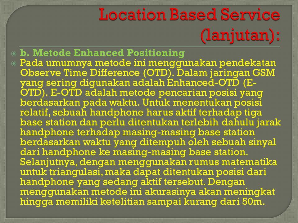  b. Metode Enhanced Positioning  Pada umumnya metode ini menggunakan pendekatan Observe Time Difference (OTD). Dalam jaringan GSM yang sering diguna