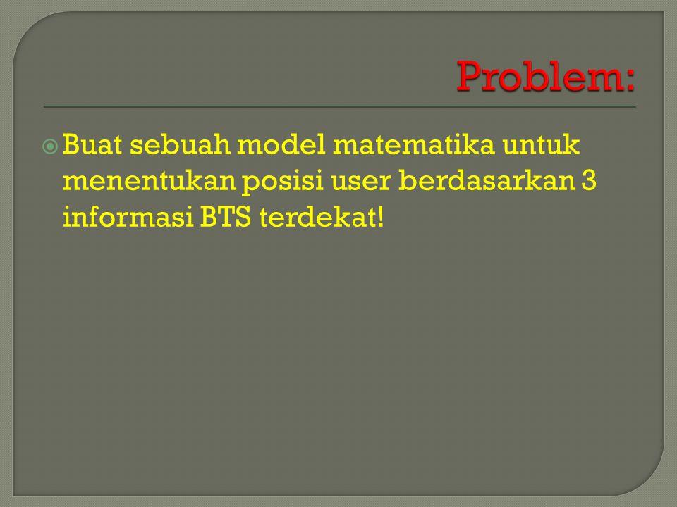  Buat sebuah model matematika untuk menentukan posisi user berdasarkan 3 informasi BTS terdekat!