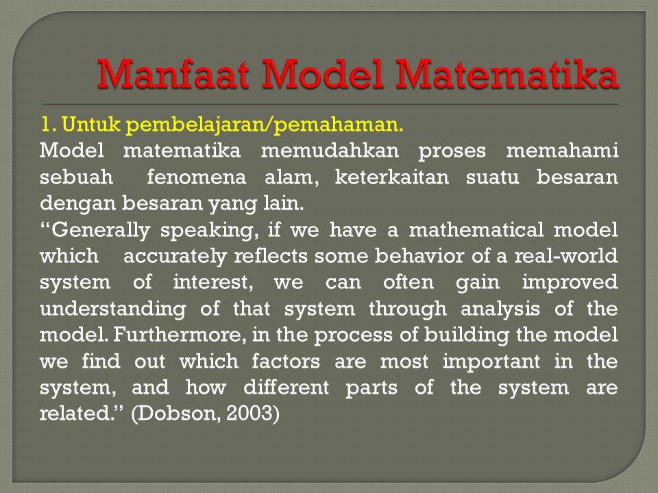 1. Untuk pembelajaran/pemahaman. Model matematika memudahkan proses memahami sebuah fenomena alam, keterkaitan suatu besaran dengan besaran yang lain.