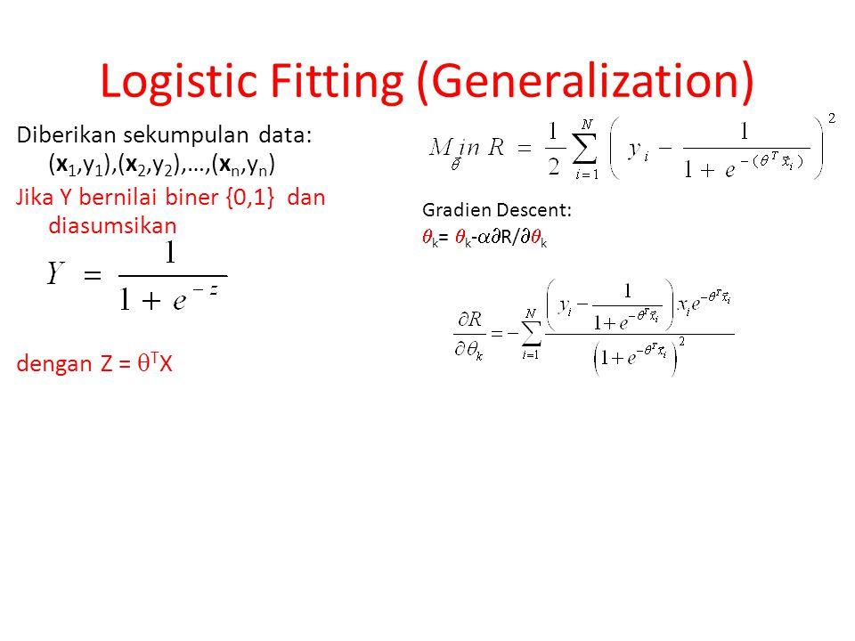 Diberikan sekumpulan data: (x 1,y 1 ),(x 2,y 2 ),…,(x n,y n ) Jika Y bernilai biner {0,1} dan diasumsikan dengan Z =  T X Logistic Fitting (Generaliz