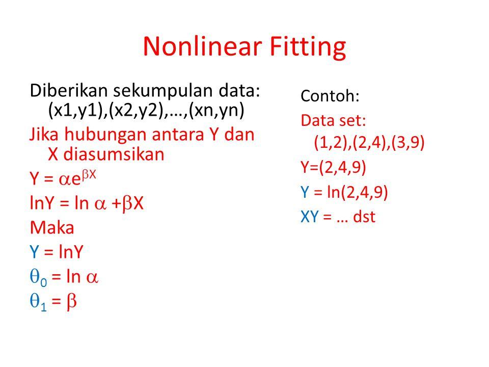 Diberikan sekumpulan data: (x1,y1),(x2,y2),…,(xn,yn) Jika hubungan antara Y dan X diasumsikan Y =  e  X lnY = ln  +  X Maka Y = lnY  0 = ln   1