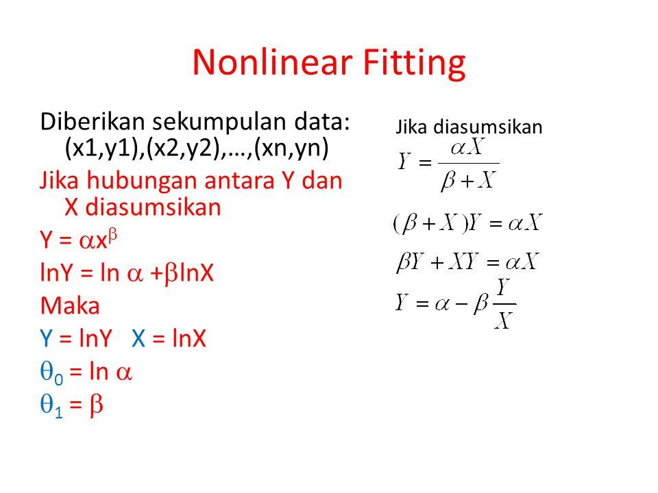 Diberikan sekumpulan data: (x1,y1),(x2,y2),…,(xn,yn) Jika hubungan antara Y dan X diasumsikan Y =  x  lnY = ln  +  lnX Maka Y = lnY X = lnX  0 =