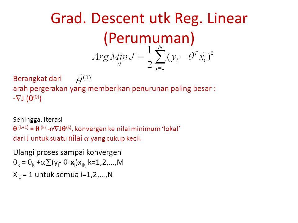 Grad. Descent utk Reg. Linear (Perumuman) Berangkat dari arah pergerakan yang memberikan penurunan paling besar : -  J (  (0) ) Sehingga, iterasi 