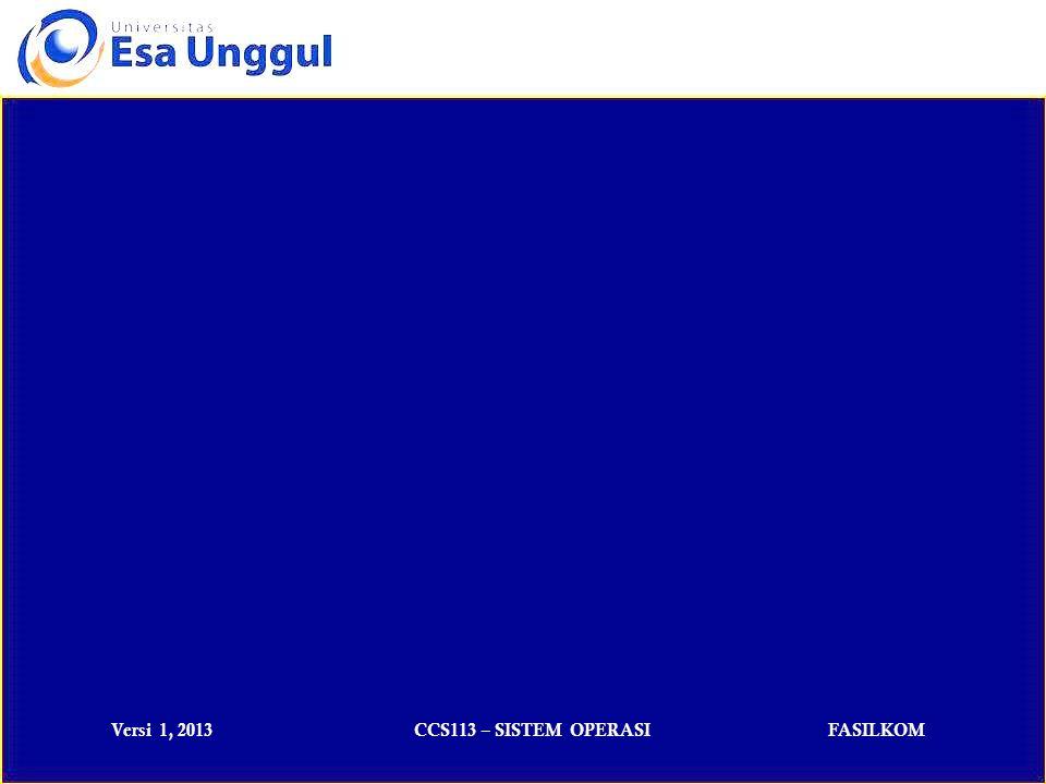 Versi 1, 2013CCS113 – SISTEM OPERASIFASILKOM