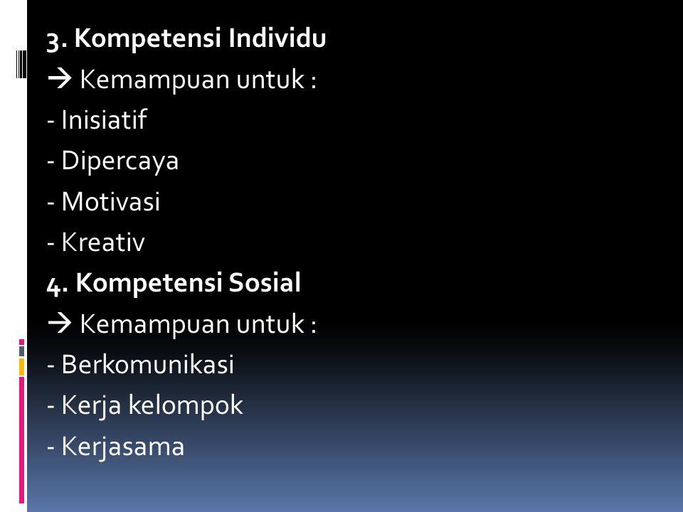 3. Kompetensi Individu  Kemampuan untuk : - Inisiatif - Dipercaya - Motivasi - Kreativ 4. Kompetensi Sosial  Kemampuan untuk : - Berkomunikasi - Ker