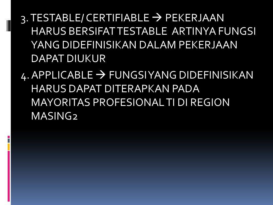 3. TESTABLE/ CERTIFIABLE  PEKERJAAN HARUS BERSIFAT TESTABLE ARTINYA FUNGSI YANG DIDEFINISIKAN DALAM PEKERJAAN DAPAT DIUKUR 4. APPLICABLE  FUNGSI YAN