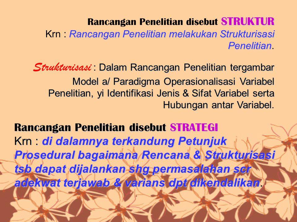 STRUKTUR Rancangan Penelitian disebut STRUKTUR Rancangan Penelitian melakukan Strukturisasi Penelitian Krn : Rancangan Penelitian melakukan Strukturis