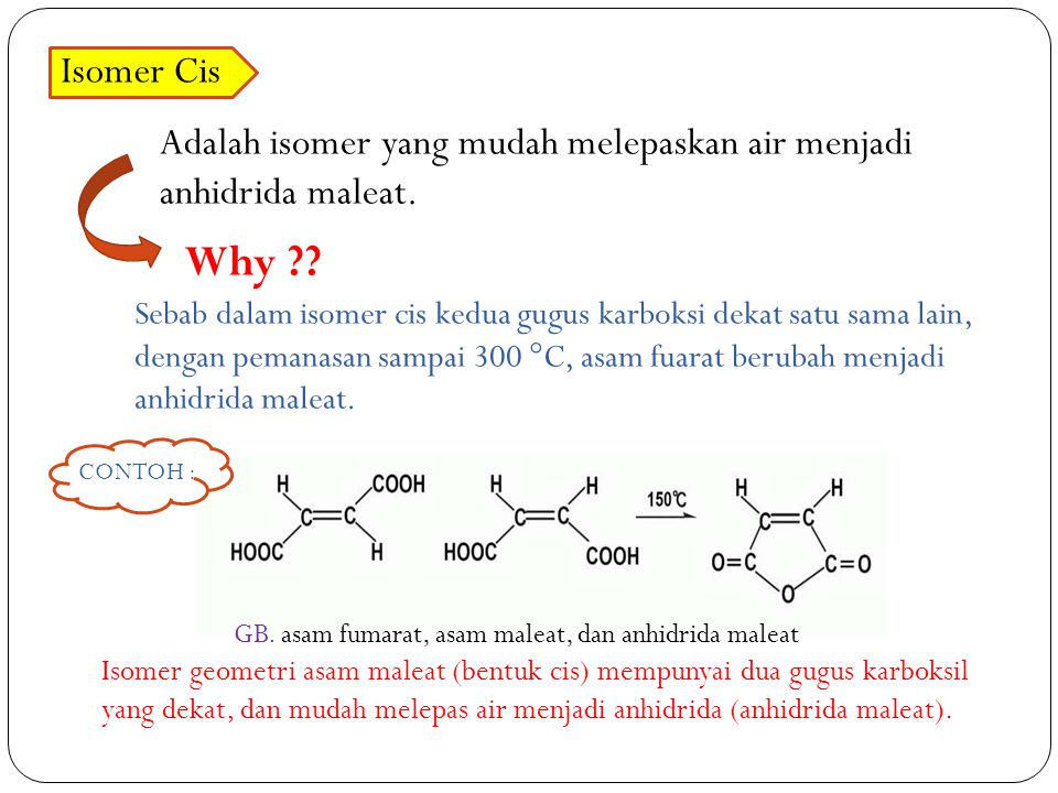 Isomer Cis Adalah isomer yang mudah melepaskan air menjadi anhidrida maleat.