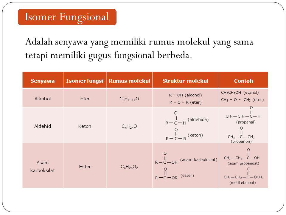 Isomer Fungsional Adalah senyawa yang memiliki rumus molekul yang sama tetapi memiliki gugus fungsional berbeda.