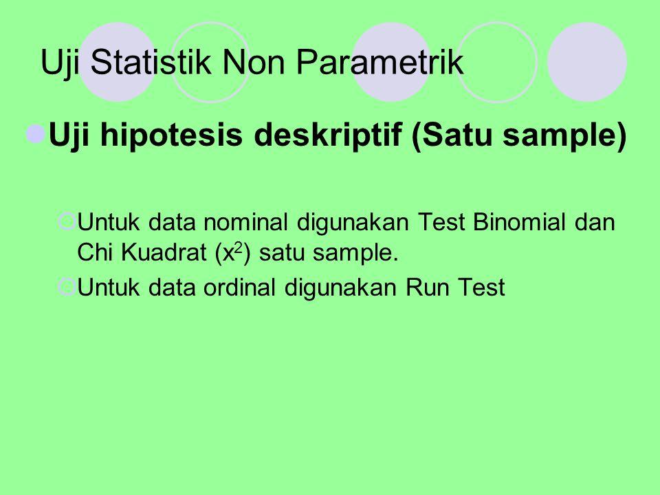 Test Binomial Digunakan untuk menguji hipotesis bila dalam populasi terdiri atas dua kelompok klas, datanya berbentuk nominal dan jumlah sampelnya kecil, misalnya klas pria dan wanita, senior dan yunior dll.