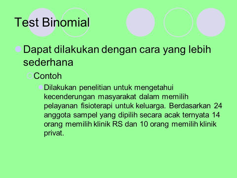 Test Binomial Hipotesis nul yang diajukan adalah bahwa peluang masyarakat dalam memilih dua jenis pelayanan fisioterapi yaitu klinik RS dan klinik privat adalah sama, yaitu 50%  Ho : P1 = P2 = 0,5  Ha : P1 = P2 = 0,5