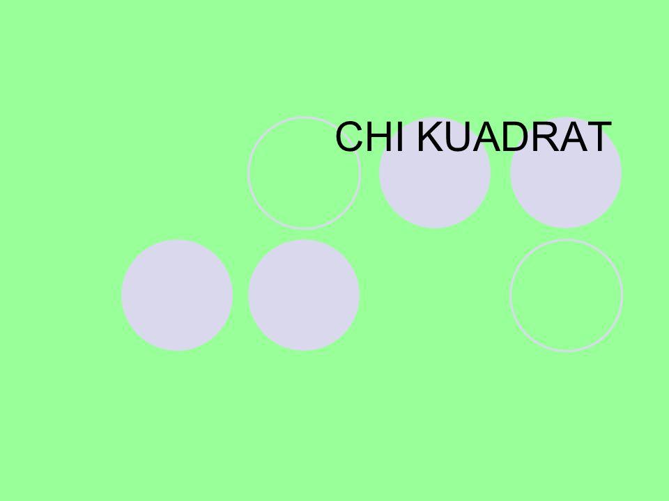 Chi kuadrat (  2 ) Chi Kuadrat satu sample, adalah teknik statistik yang digunakan untuk menguji hipotesis bila dalam populasi terdiri atas dua atau lebih klas, data berbentuk nominal dan sampelnya besar.