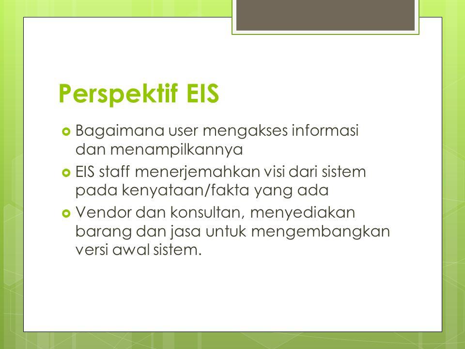 Perspektif EIS  Bagaimana user mengakses informasi dan menampilkannya  EIS staff menerjemahkan visi dari sistem pada kenyataan/fakta yang ada  Vend