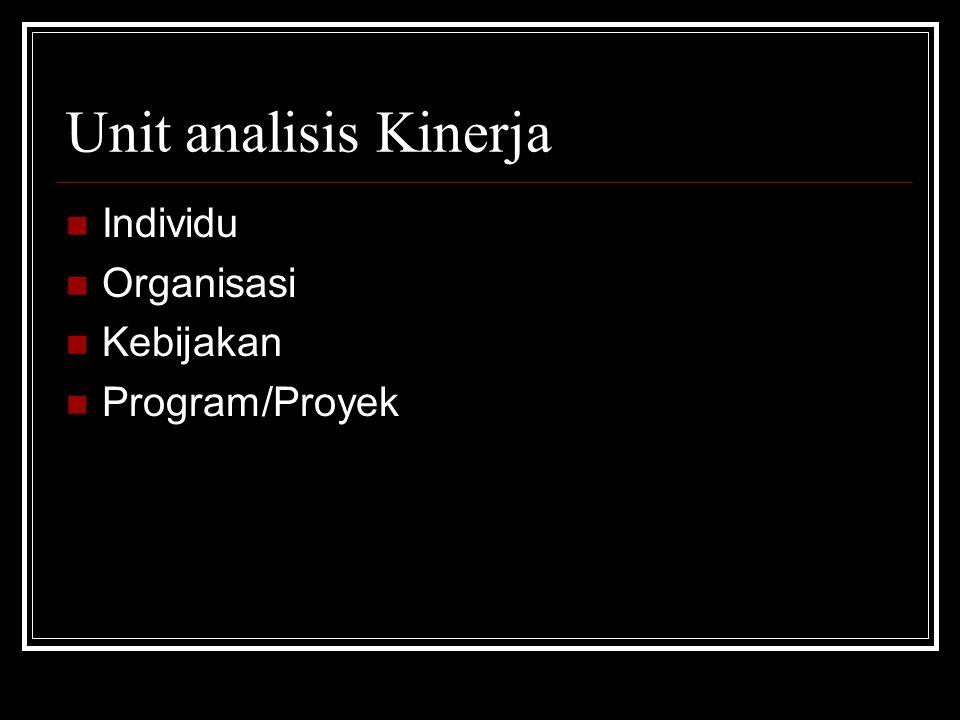 Unit analisis Kinerja Individu Organisasi Kebijakan Program/Proyek