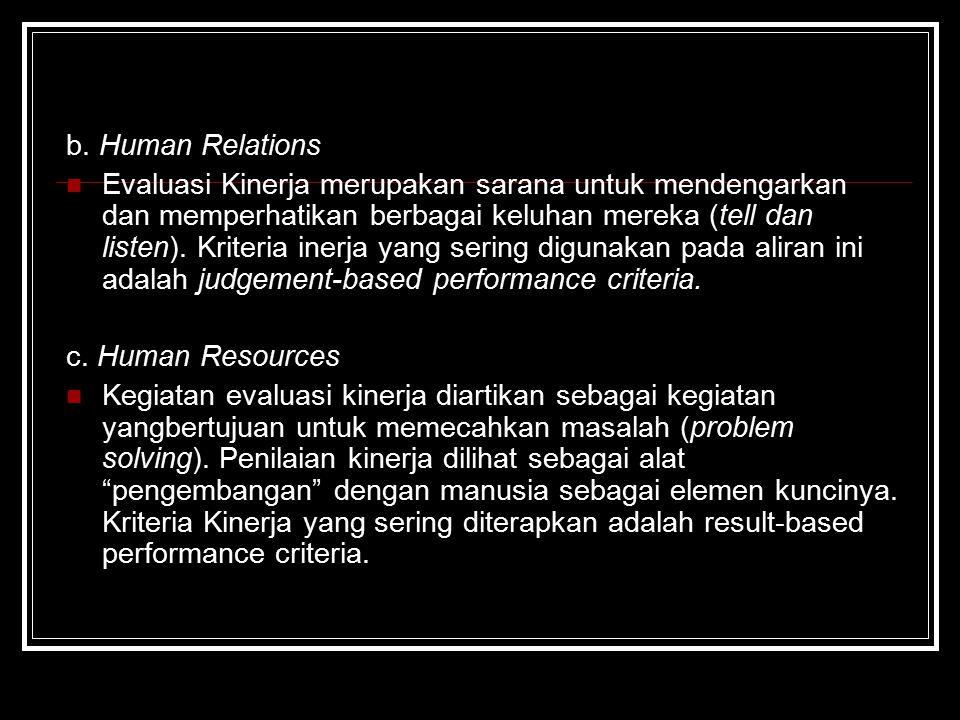 b. Human Relations Evaluasi Kinerja merupakan sarana untuk mendengarkan dan memperhatikan berbagai keluhan mereka (tell dan listen). Kriteria inerja y