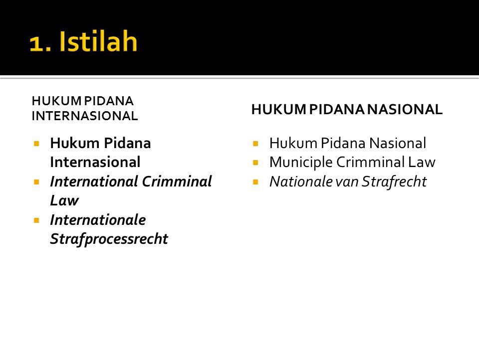 HUKUM PIDANA INTERNASIONAL  Hukum Pidana Internasional  International Crimminal Law  Internationale Strafprocessrecht HUKUM PIDANA NASIONAL  Hukum