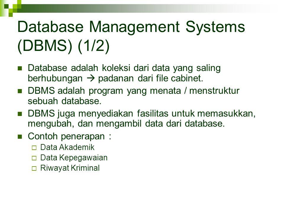 Database Management Systems (DBMS) (1/2) Database adalah koleksi dari data yang saling berhubungan  padanan dari file cabinet. DBMS adalah program ya