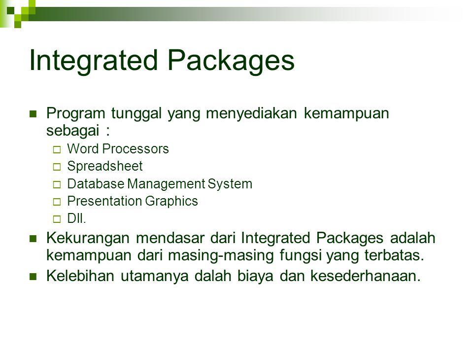 Integrated Packages Program tunggal yang menyediakan kemampuan sebagai :  Word Processors  Spreadsheet  Database Management System  Presentation G