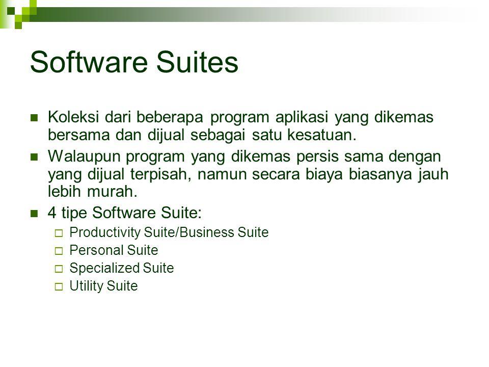 Software Suites Koleksi dari beberapa program aplikasi yang dikemas bersama dan dijual sebagai satu kesatuan. Walaupun program yang dikemas persis sam