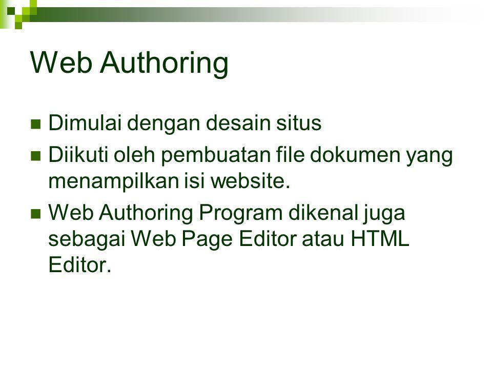 Web Authoring Dimulai dengan desain situs Diikuti oleh pembuatan file dokumen yang menampilkan isi website. Web Authoring Program dikenal juga sebagai