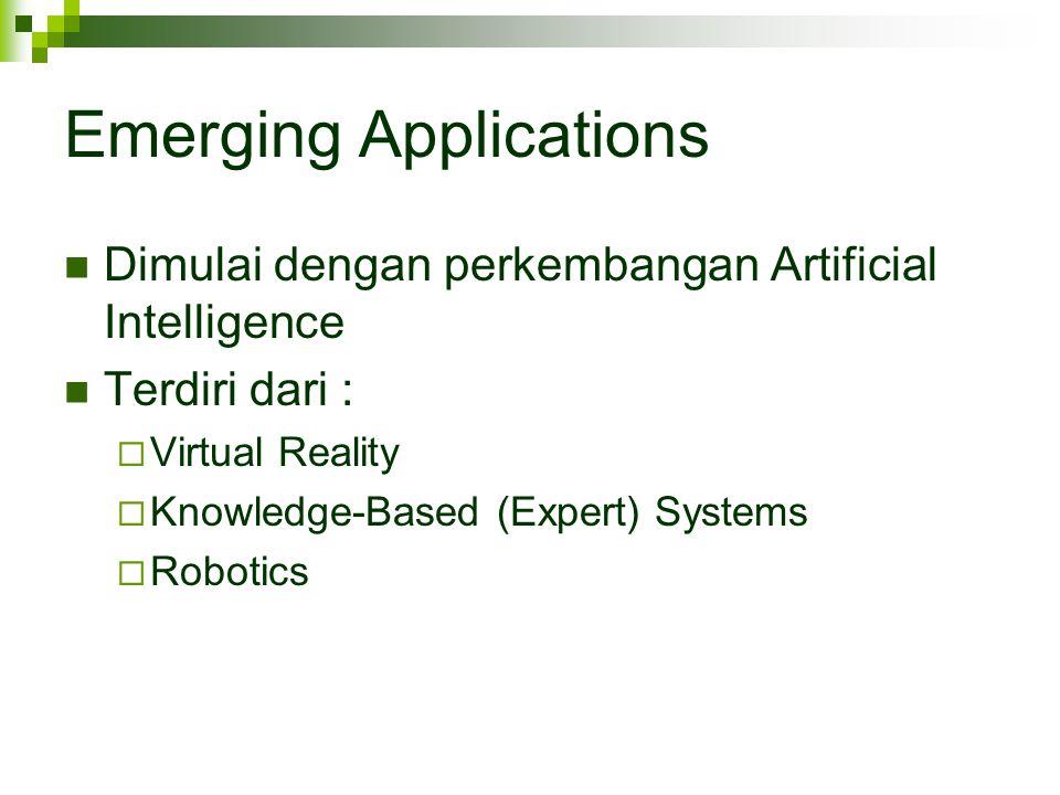 Emerging Applications Dimulai dengan perkembangan Artificial Intelligence Terdiri dari :  Virtual Reality  Knowledge-Based (Expert) Systems  Roboti