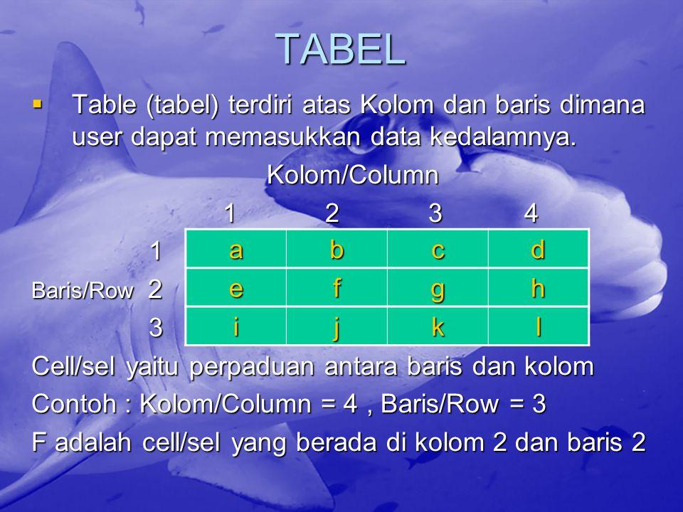 TABEL  Table (tabel) terdiri atas Kolom dan baris dimana user dapat memasukkan data kedalamnya. Kolom/Column Kolom/Column 1 2 3 4 1 2 3 4 1 Baris/Row