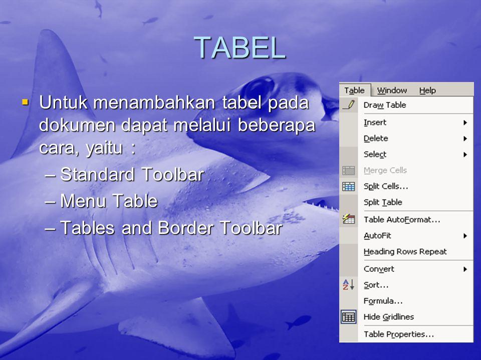 TABEL  Untuk menambahkan tabel pada dokumen dapat melalui beberapa cara, yaitu : –Standard Toolbar –Menu Table –Tables and Border Toolbar