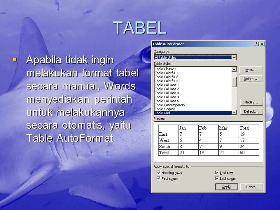 TABEL AAAApabila tidak ingin melakukan format tabel secara manual, Words menyediakan perintah untuk melakukannya secara otomatis, yaitu Table Auto