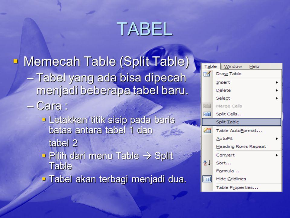 TABEL  Memecah Table (Split Table) –Tabel yang ada bisa dipecah menjadi beberapa tabel baru. –Cara :  Letakkan titik sisip pada baris batas antara t