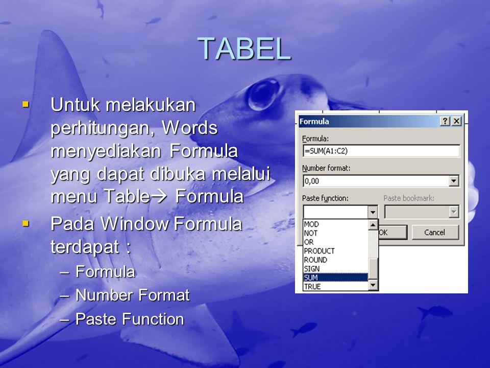 TABEL  Untuk melakukan perhitungan, Words menyediakan Formula yang dapat dibuka melalui menu Table  Formula  Pada Window Formula terdapat : –Formula –Number Format –Paste Function