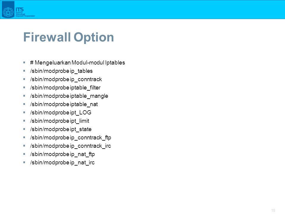18 Firewall Option  # Mengeluarkan Modul-modul Iptables  /sbin/modprobe ip_tables  /sbin/modprobe ip_conntrack  /sbin/modprobe iptable_filter  /s