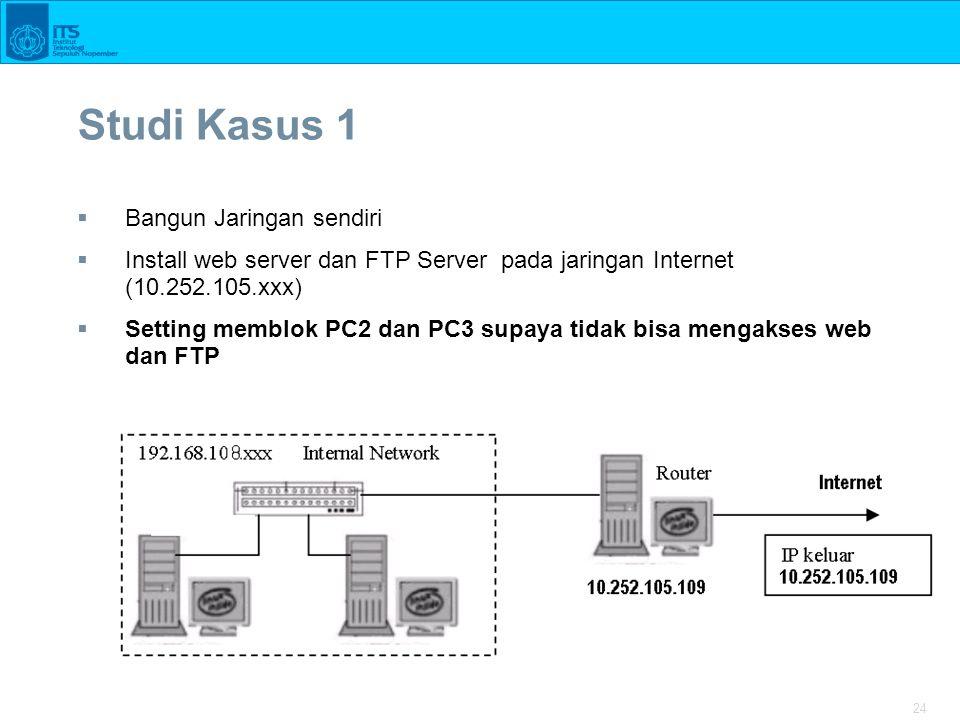 24 Studi Kasus 1  Bangun Jaringan sendiri  Install web server dan FTP Server pada jaringan Internet (10.252.105.xxx)  Setting memblok PC2 dan PC3 s