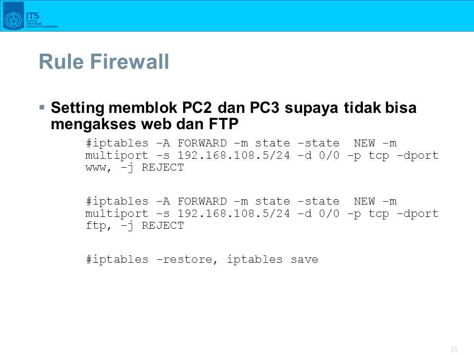 28 Rule Firewall  Setting memblok PC2 dan PC3 supaya tidak bisa mengakses web dan FTP #iptables –A FORWARD –m state –state NEW –m multiport –s 192.16