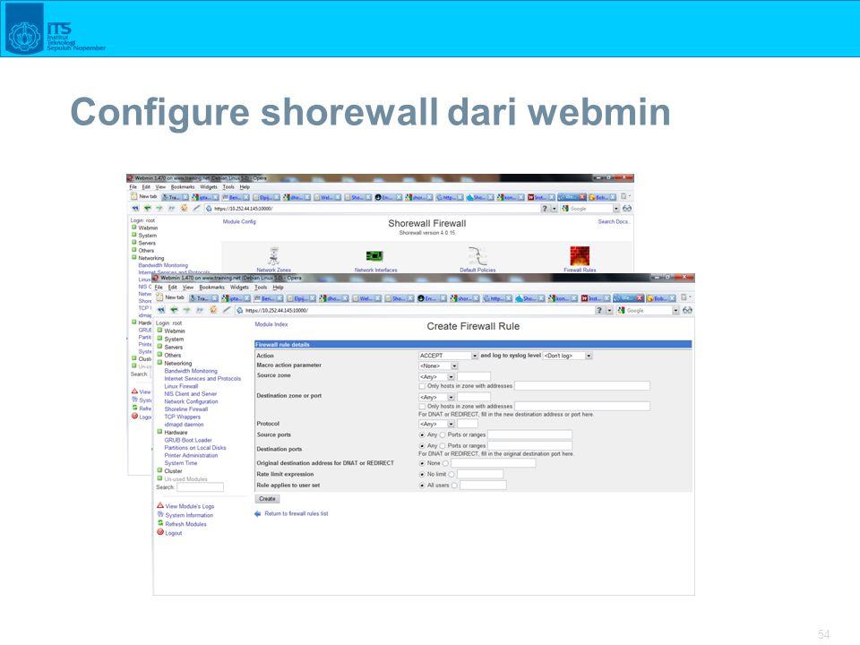 54 Configure shorewall dari webmin