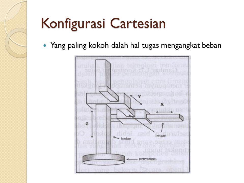 Konfigurasi Cartesian Yang paling kokoh dalah hal tugas mengangkat beban