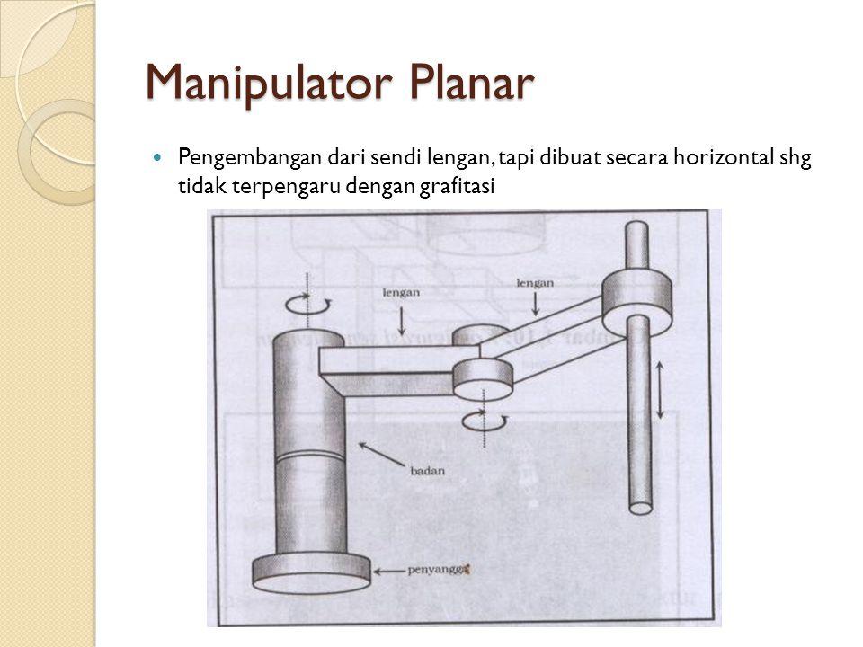 Manipulator Planar Pengembangan dari sendi lengan, tapi dibuat secara horizontal shg tidak terpengaru dengan grafitasi