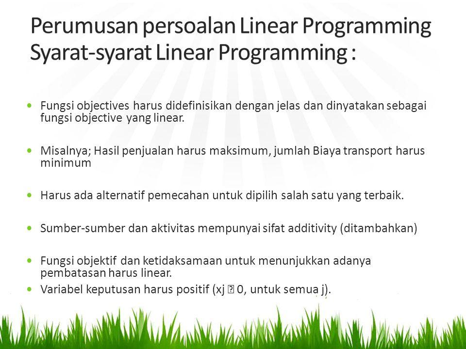 Fungsi objectives harus didefinisikan dengan jelas dan dinyatakan sebagai fungsi objective yang linear.