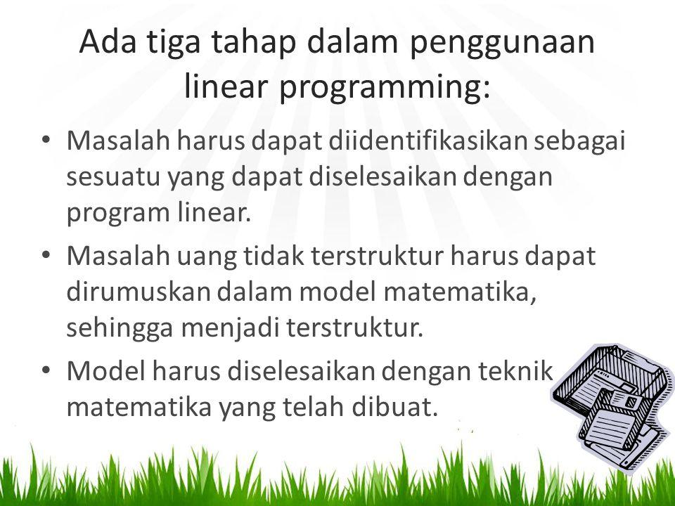 Ada tiga tahap dalam penggunaan linear programming: Masalah harus dapat diidentifikasikan sebagai sesuatu yang dapat diselesaikan dengan program linear.