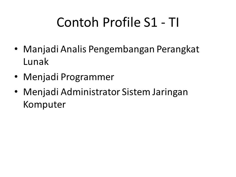 Contoh Profile S1 - TI Manjadi Analis Pengembangan Perangkat Lunak Menjadi Programmer Menjadi Administrator Sistem Jaringan Komputer